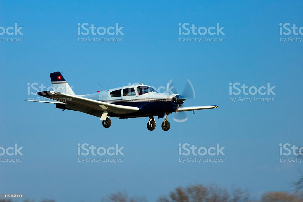 A airplane getting ready to land royalty-free stock photo