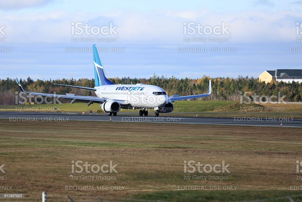 Airplane has landed at Halifax Stanfield International Airport stock photo