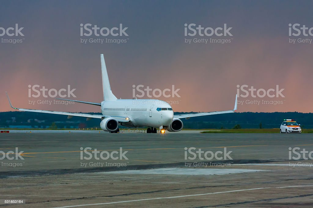 Airplane heading to follow me car royalty-free stock photo