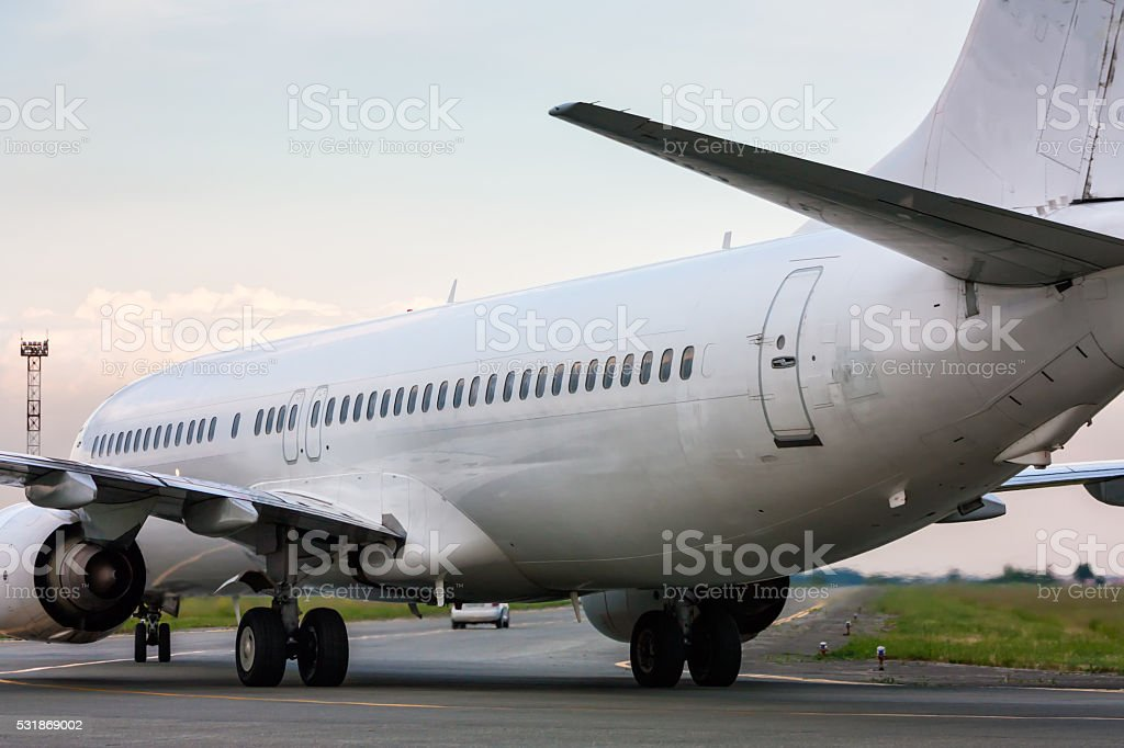 Airplane heading to follow me car royalty-free stock photo