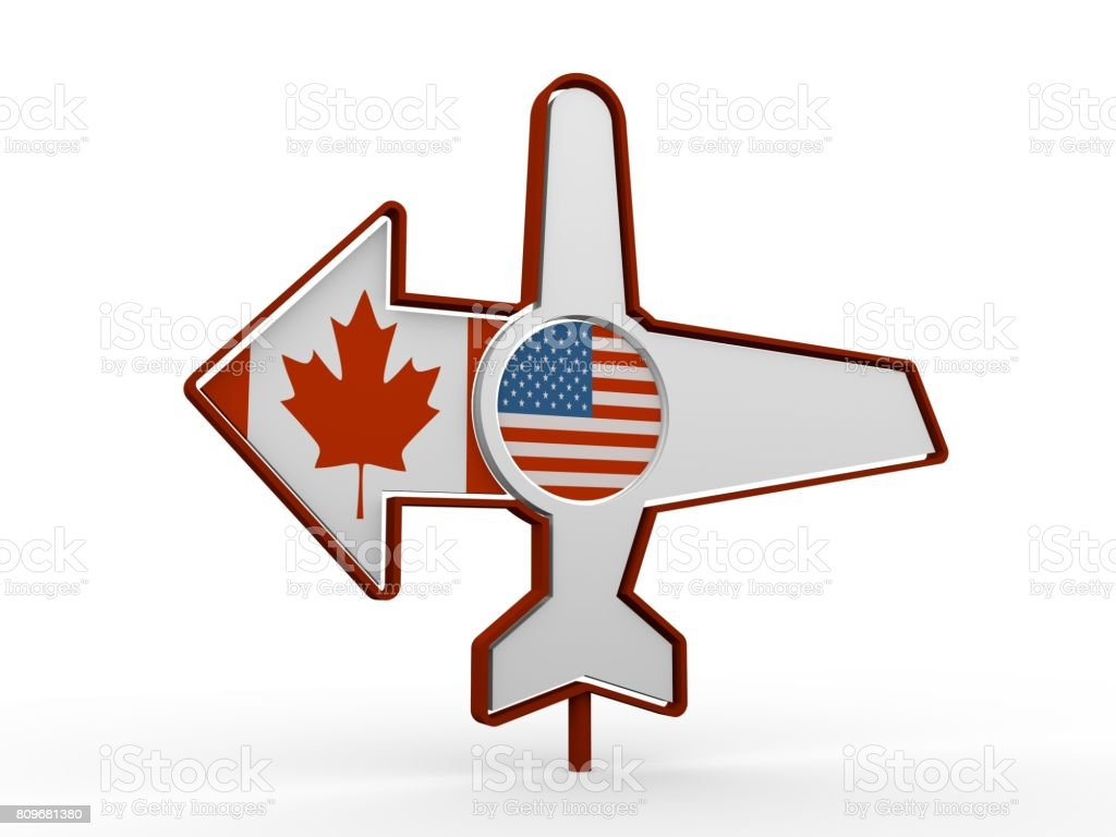 Airplane icon and destination arrow stock photo