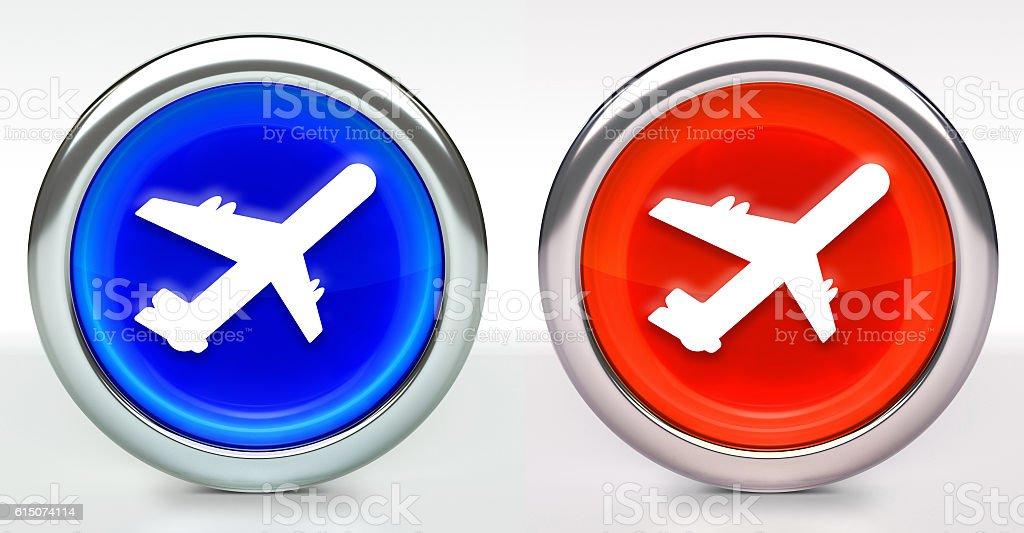 Airplane Icon on Button with Metallic Rim stock photo