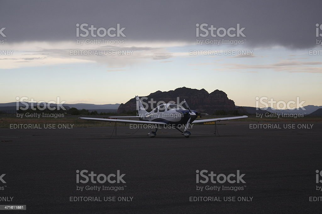 Airplane in a deserted airport royalty-free stock photo