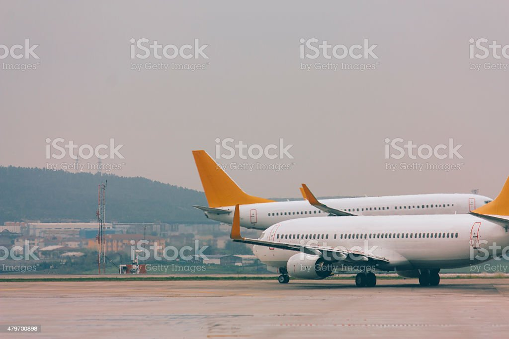 airplane in airport, traffic human transportation vehicle stock photo