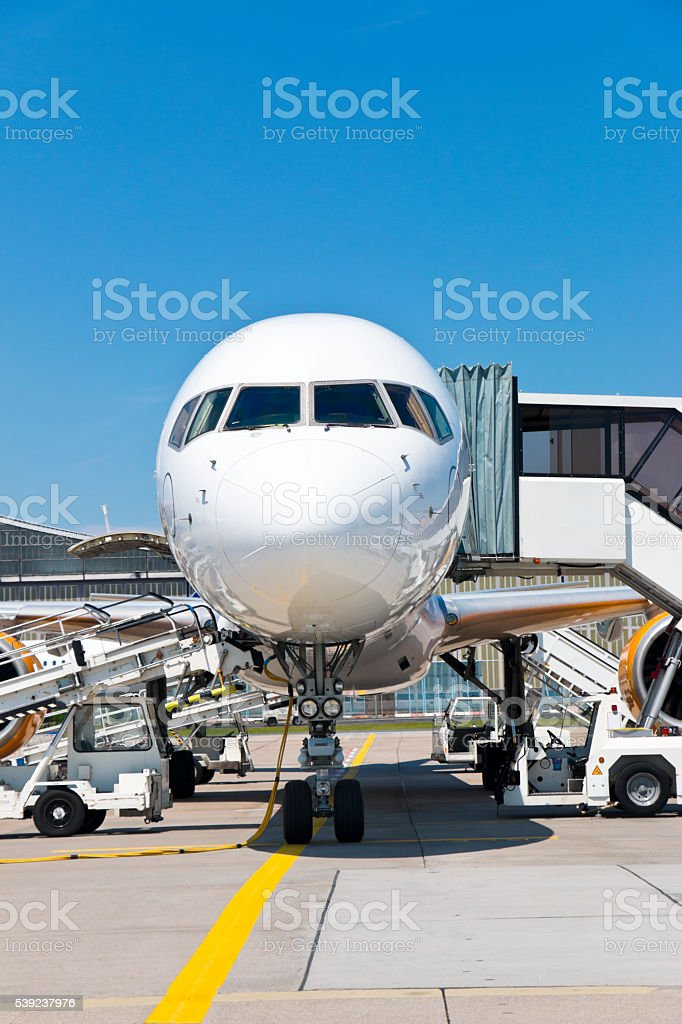 Airplane in Apron Position stock photo