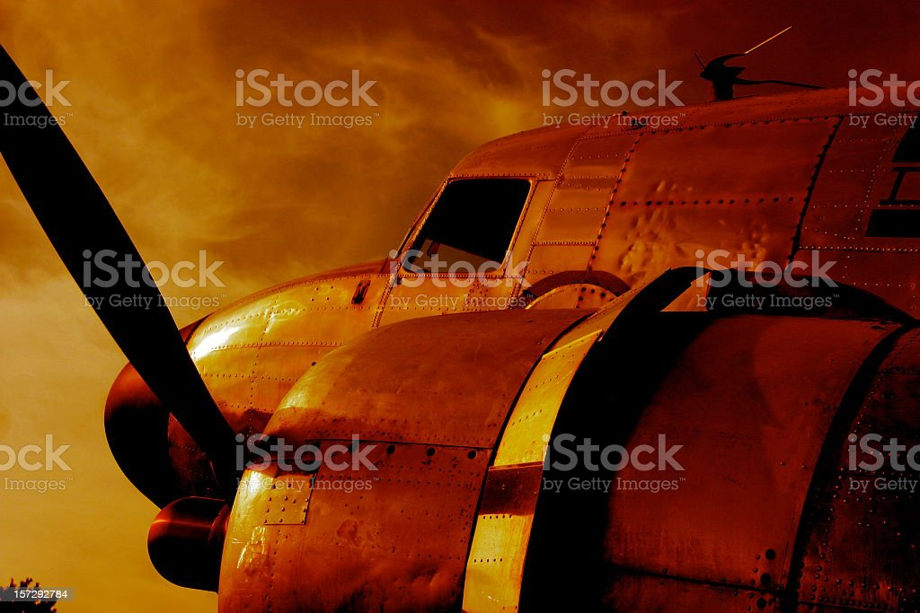 WWII Airplane in Battle stock photo