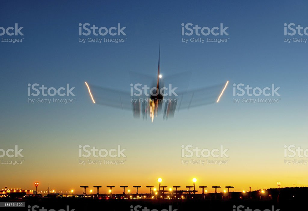 airplane in blurred motion royalty-free stock photo