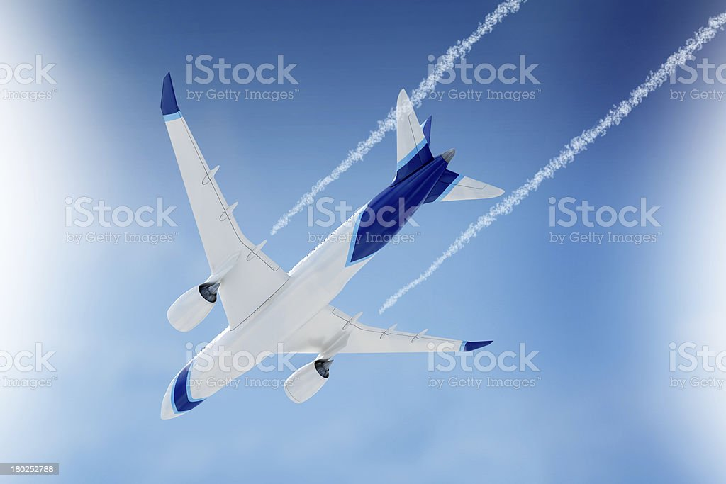 Airplane in bottom view royalty-free stock photo