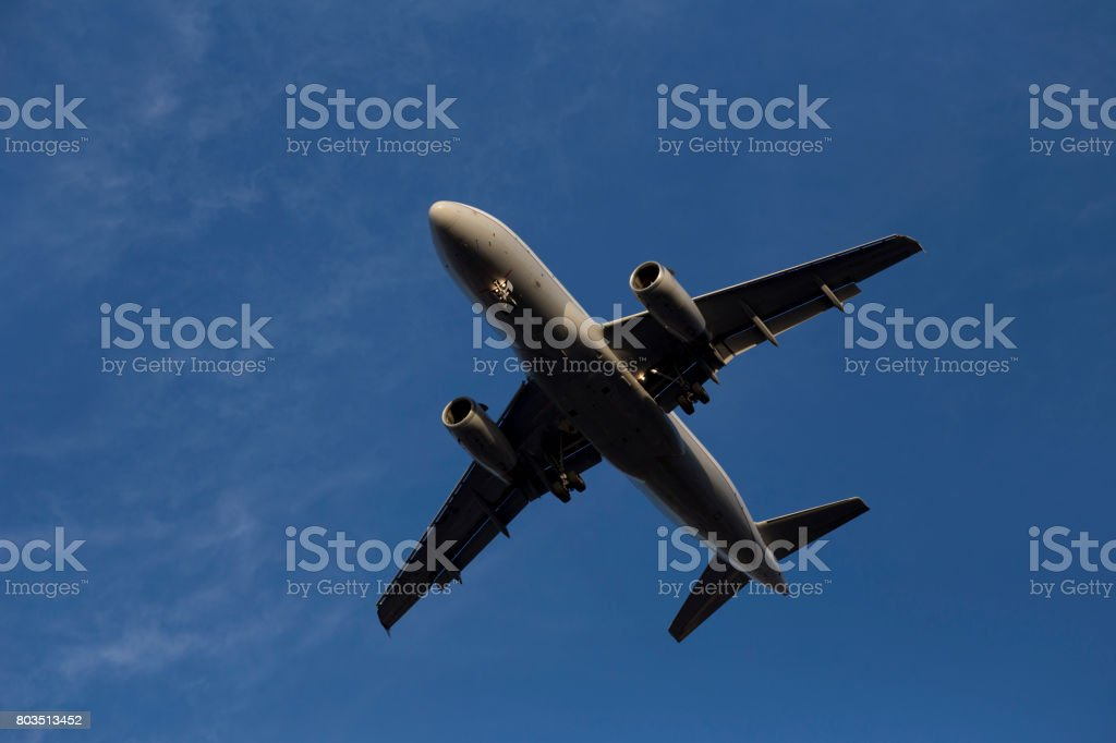 A319 Airplane in Mid Air stock photo