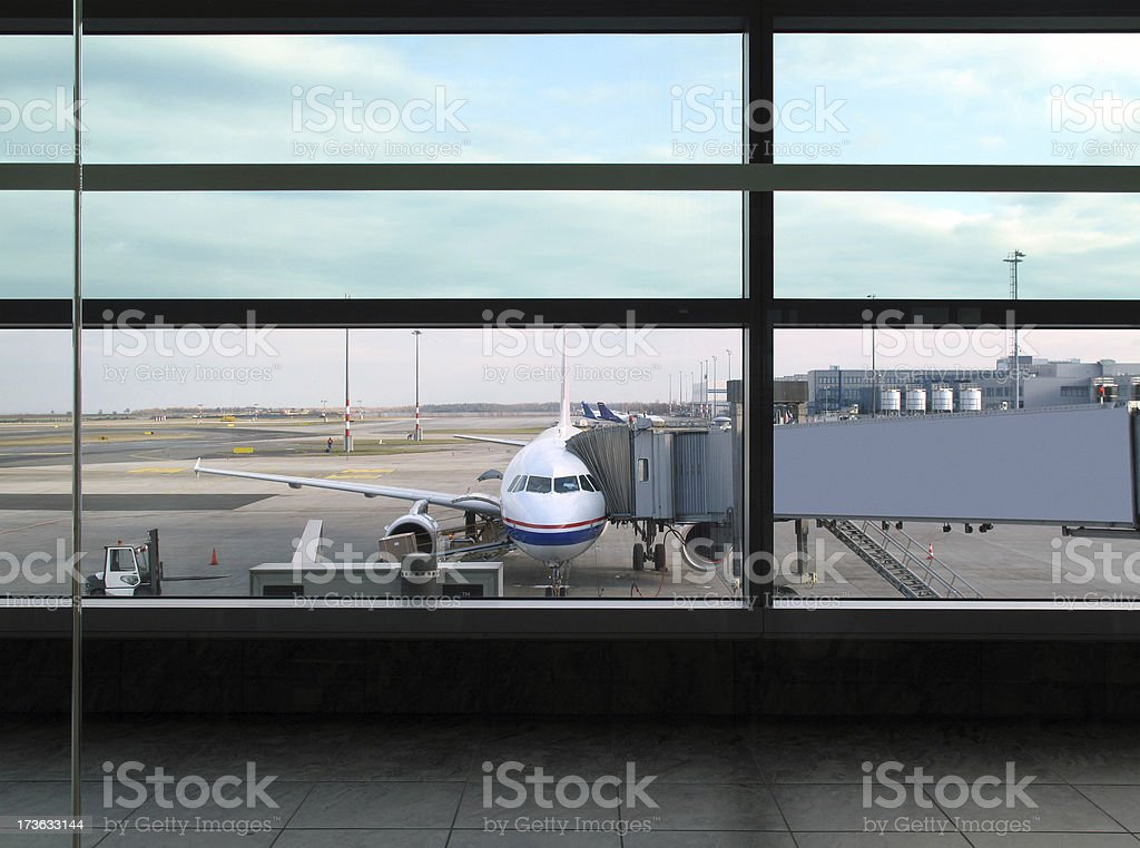 Airplane In Prague Airport stock photo