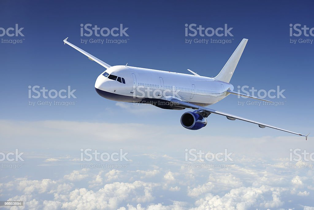 Airplane in sky royalty-free stock photo