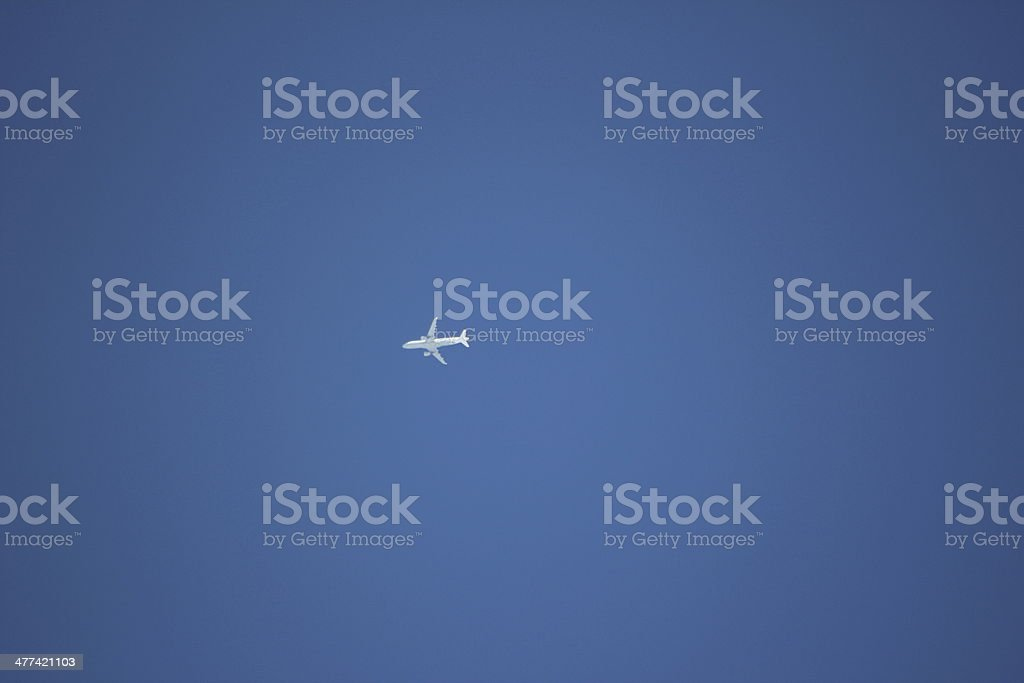 Airplane in the Blue Clear Sky royalty-free stock photo