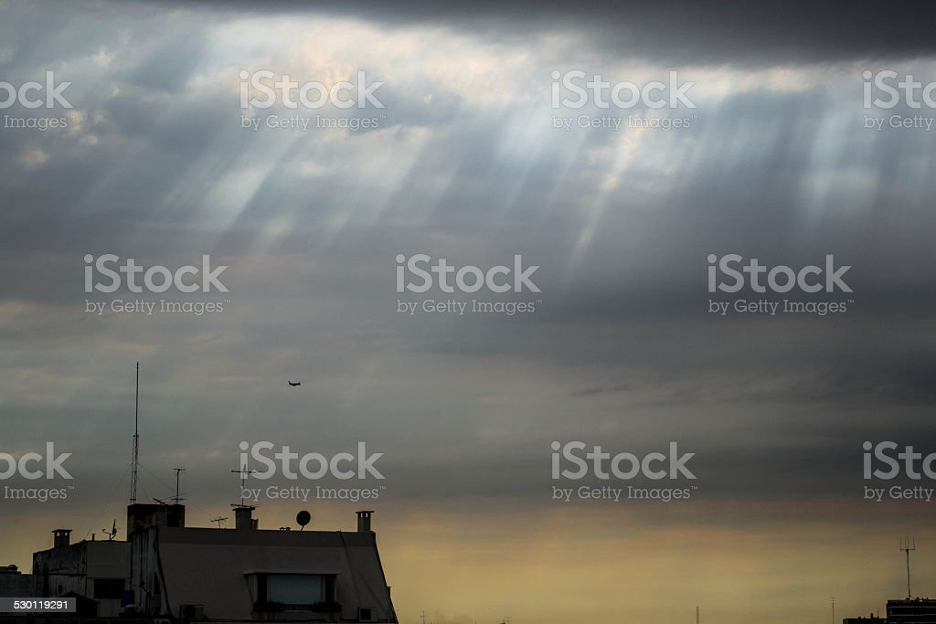 Airplane in the cloudy morning royalty-free stock photo
