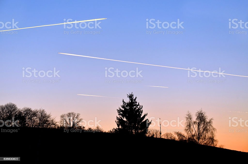 Airplane in the evening stock photo