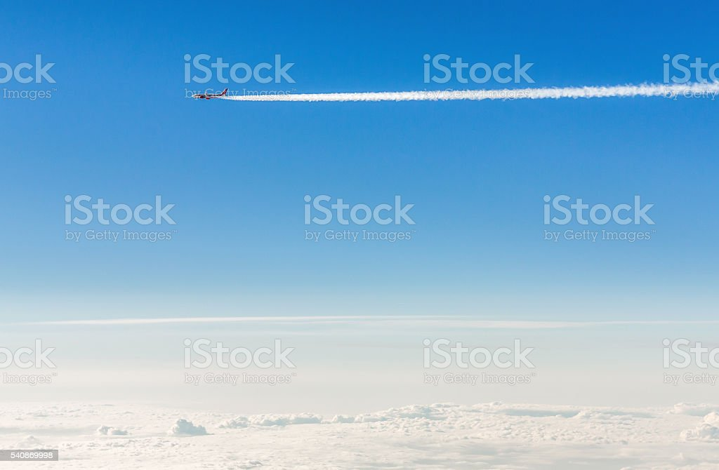 Airplane in the sky. stock photo