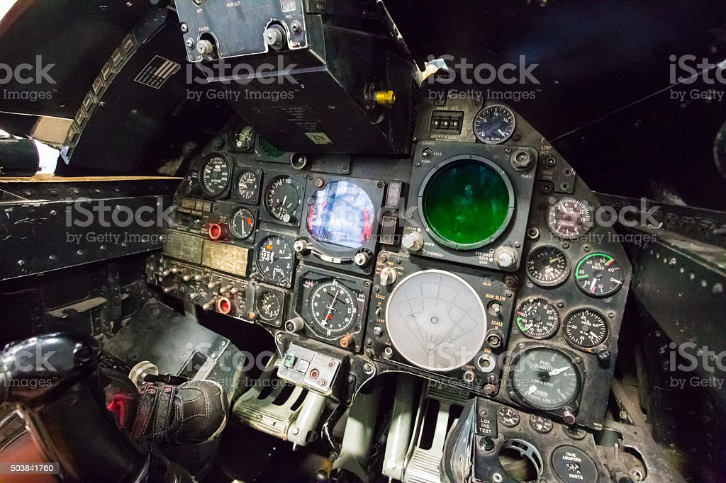 Airplane instruments inside a cockpit stock photo