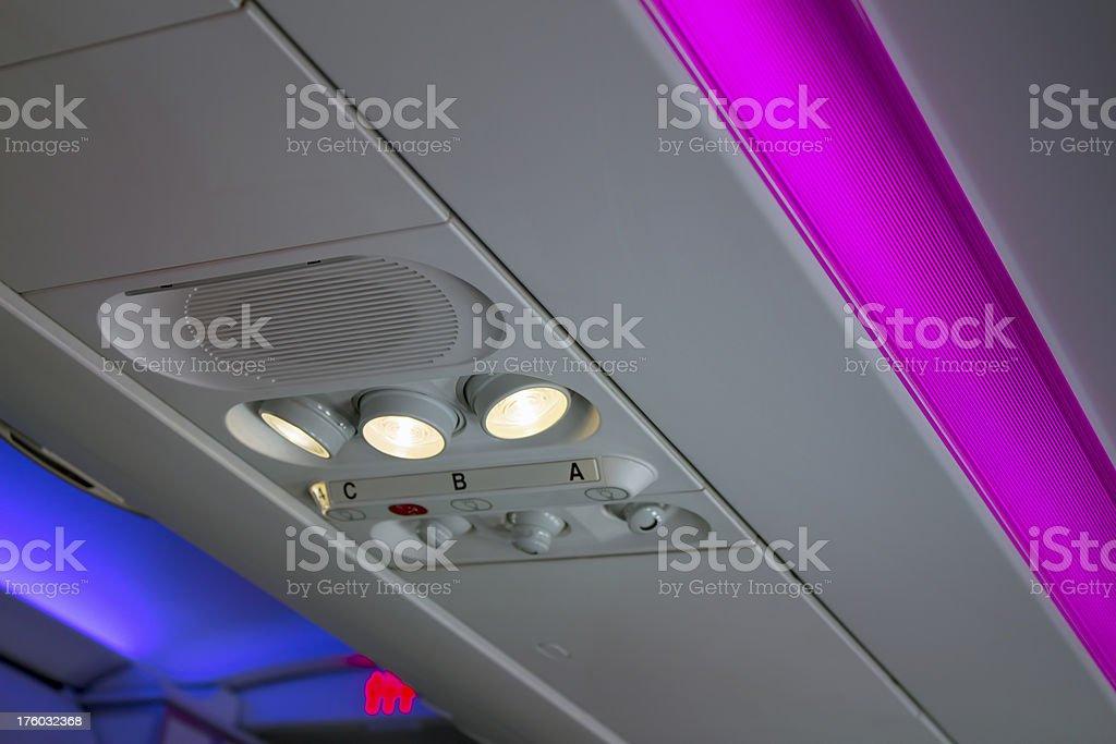 Airplane interior lighting royalty-free stock photo