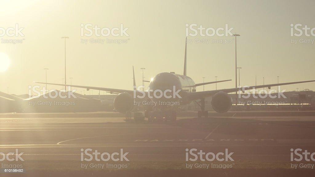 Airplane international airport terminal gate morning stock photo