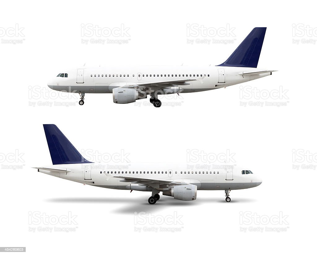 Airplane, isolated on white, clipping path stock photo