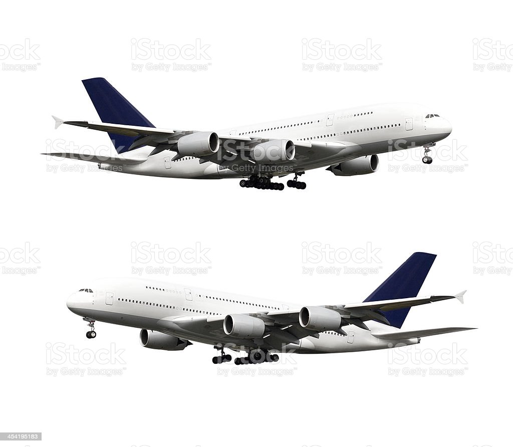 Airplane, isolated on white, with clipping path stock photo