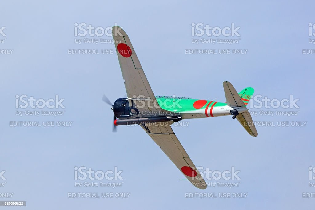 Airplane Japan Dive Bomber flying at air show stock photo