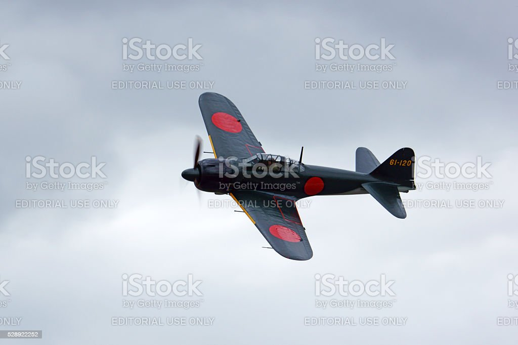Airplane Japan Zero WWII fighter stock photo