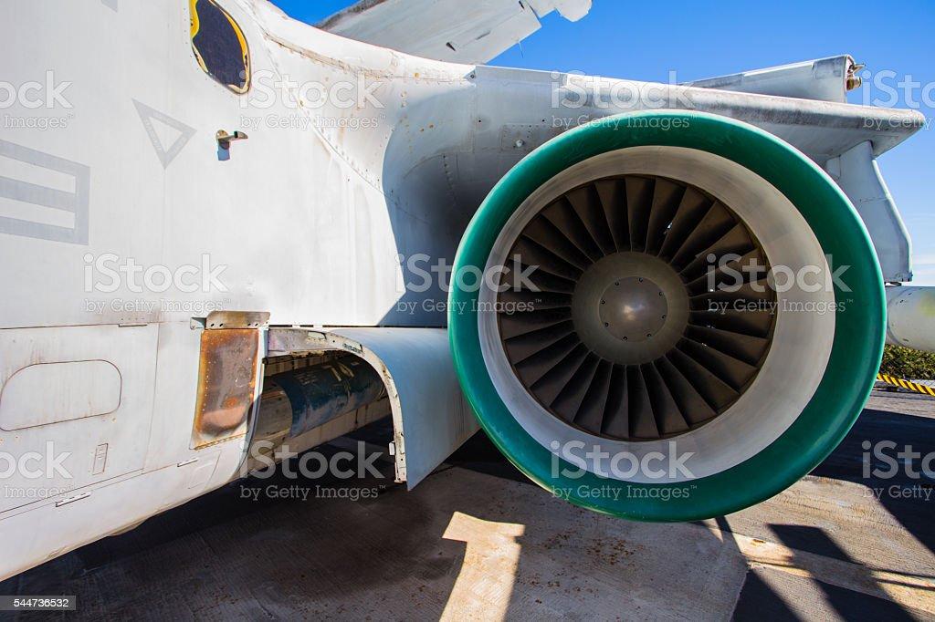 Airplane jet engine stock photo