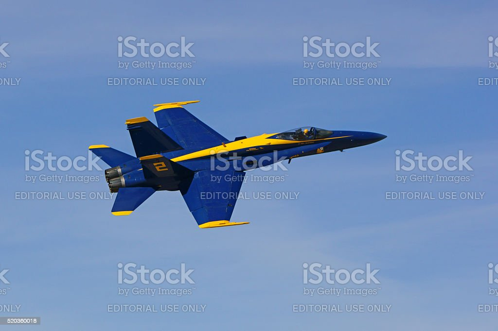 Airplane jet F-18 Blue Angels fighter stock photo