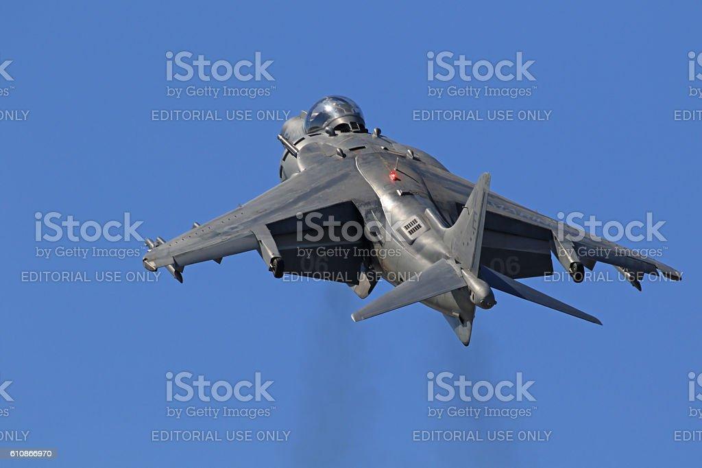 Airplane jet fighter AV-8 Harrier launch stock photo