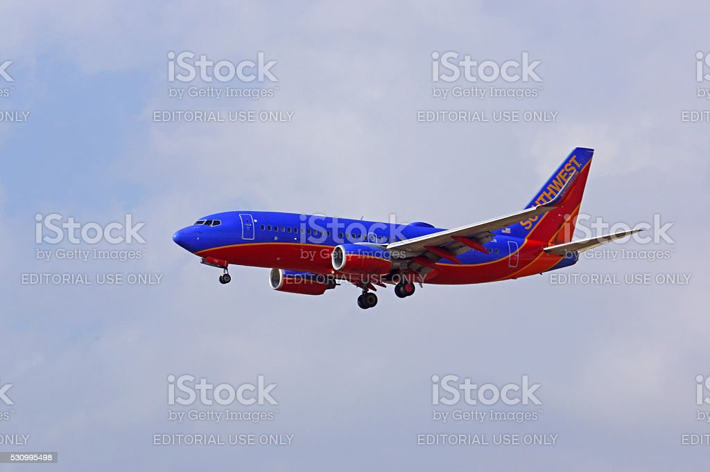 Airplane jet Southwest Airlines 737 stock photo