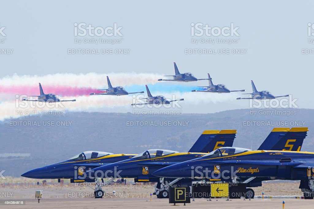 Airplane jets flying in formation at 2015 Air Show stock photo
