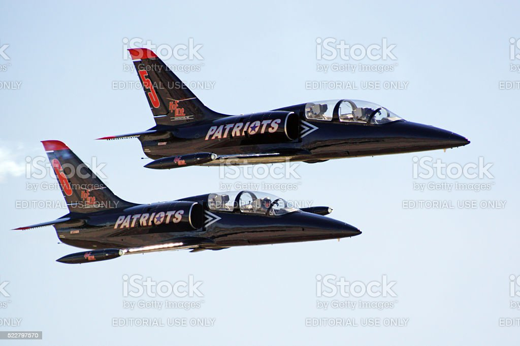 Airplane L-39 jets at air show stock photo