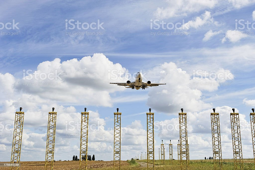 Airplane landing at Brussels Airport stock photo