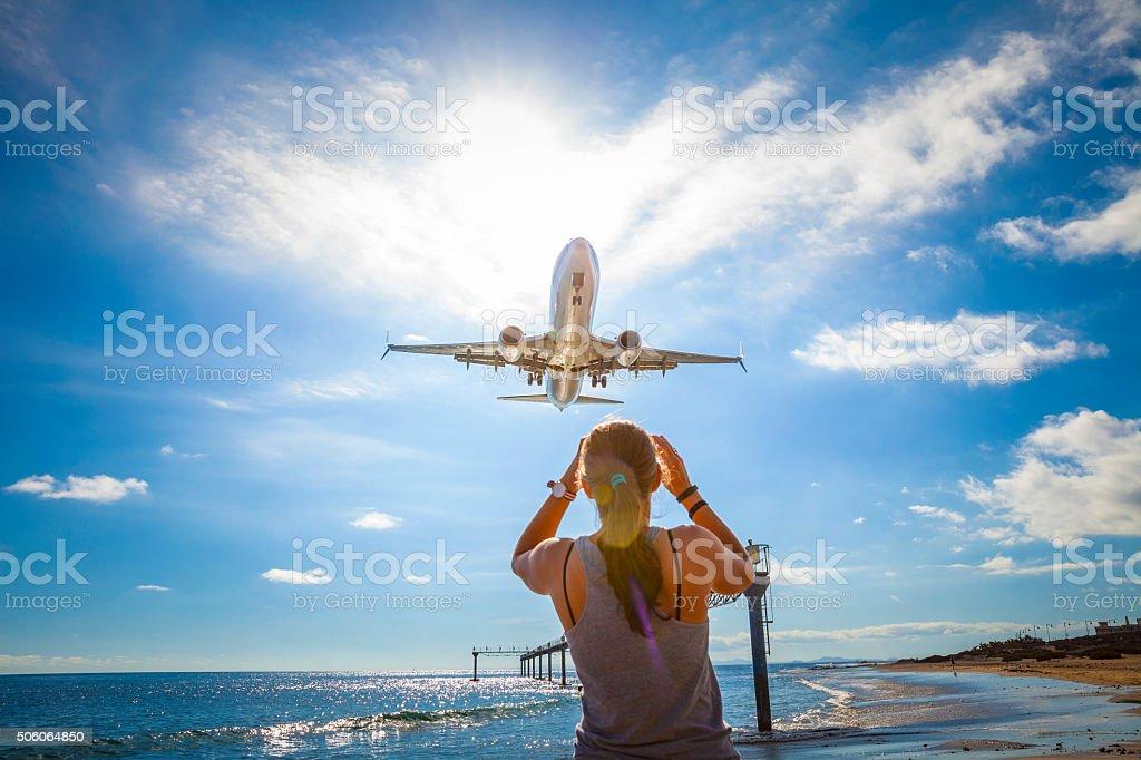 Airplane landing at Lanzarote Airport stock photo