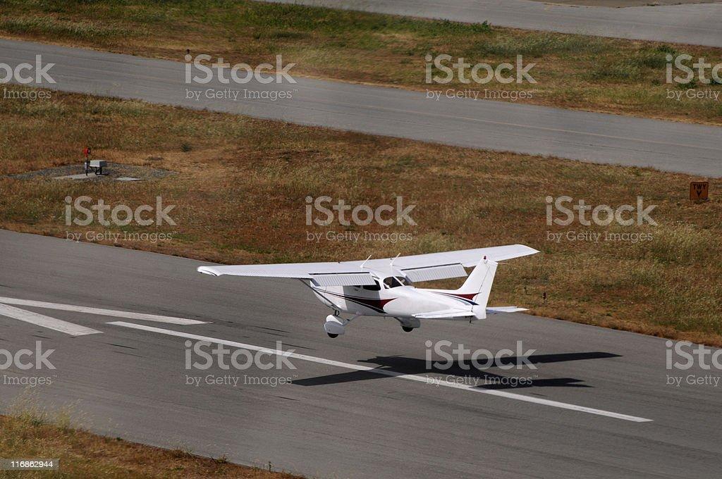airplane landing Cessna 172 stock photo