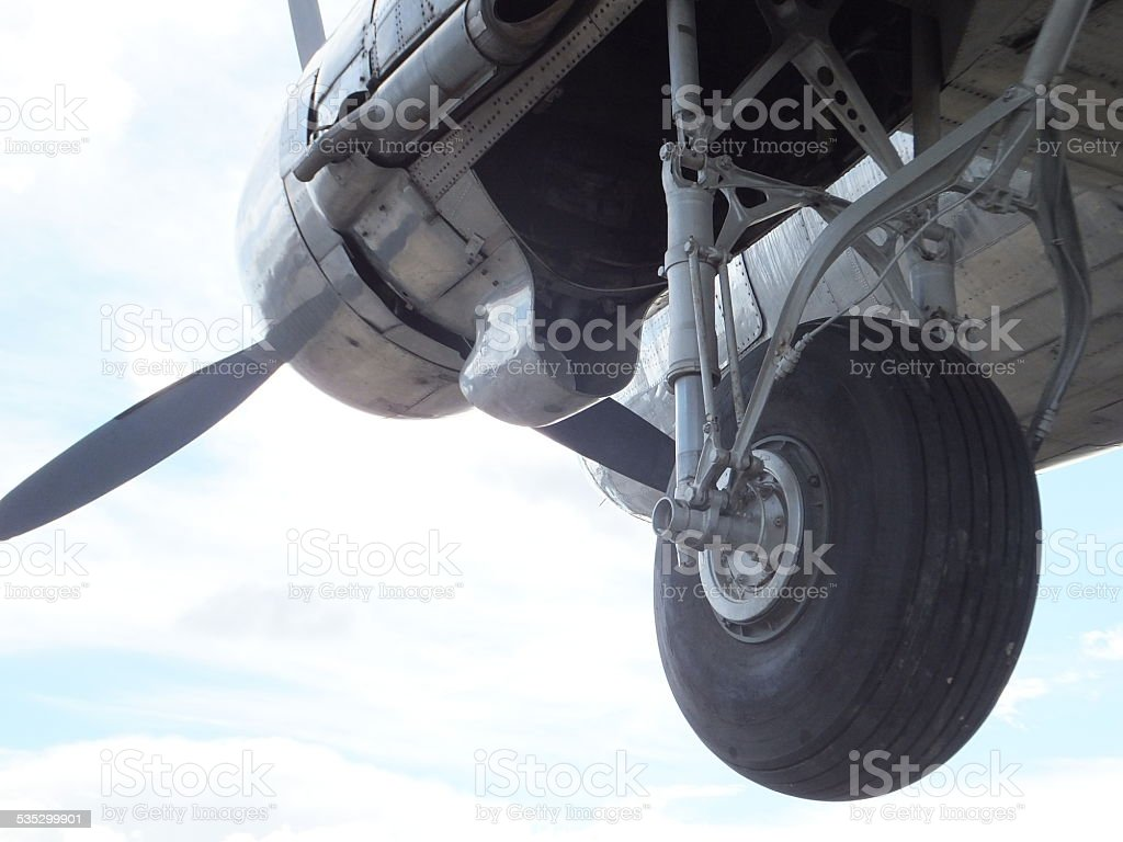 Airplane Landing gear stock photo