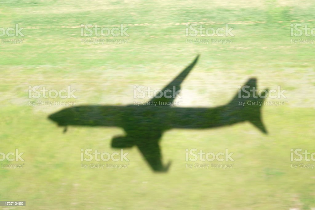 Airplane Landing Shadow stock photo