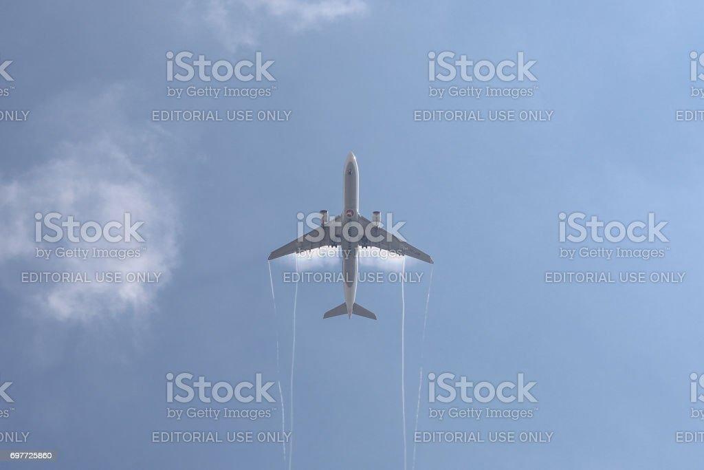 Airplane Landing to Ataturk International Airport stock photo
