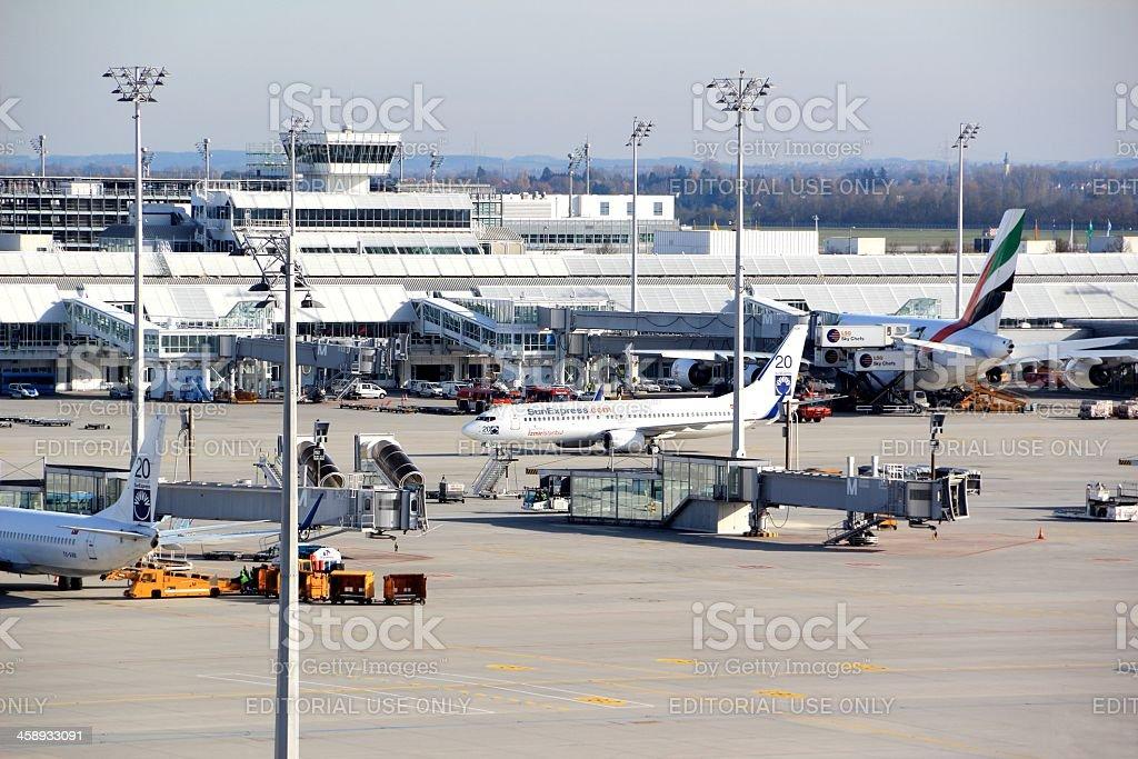 Airplane loading at airport Munich stock photo