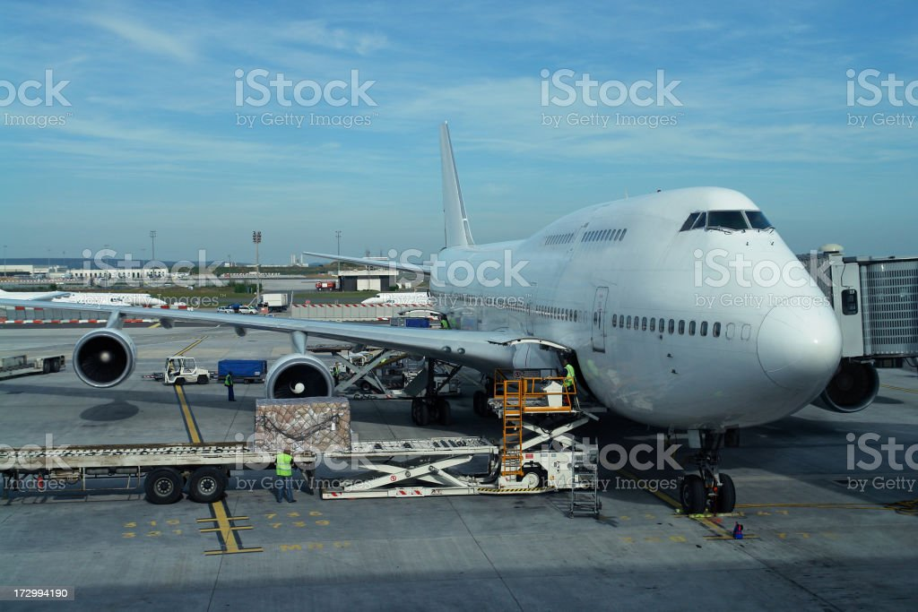 Airplane Loading at the Airport royalty-free stock photo