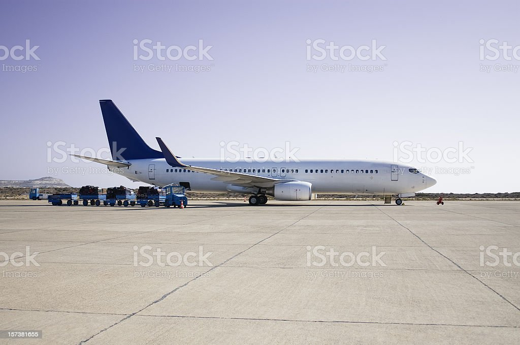 Airplane loading on airport stock photo