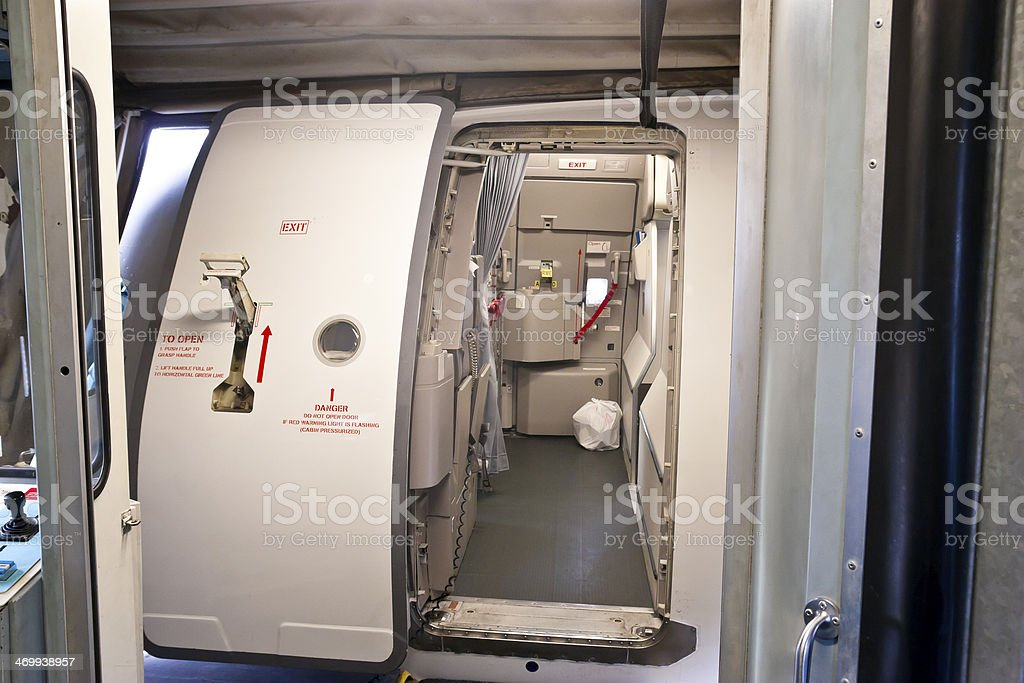 Airplane Main Cabin Door stock photo