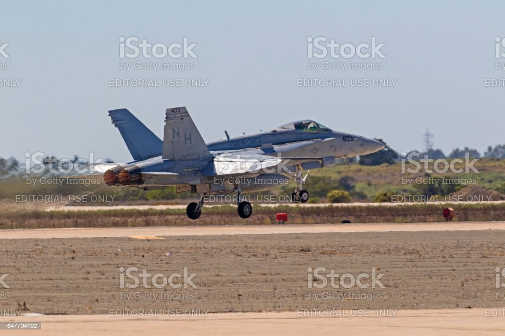 Airplane Marines F-18 Hornmet jet fighter launch at air show stock photo