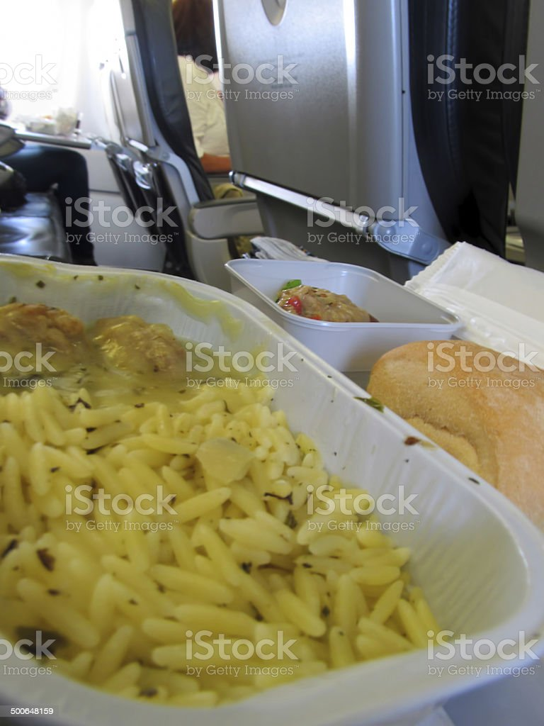 airplane meal stock photo