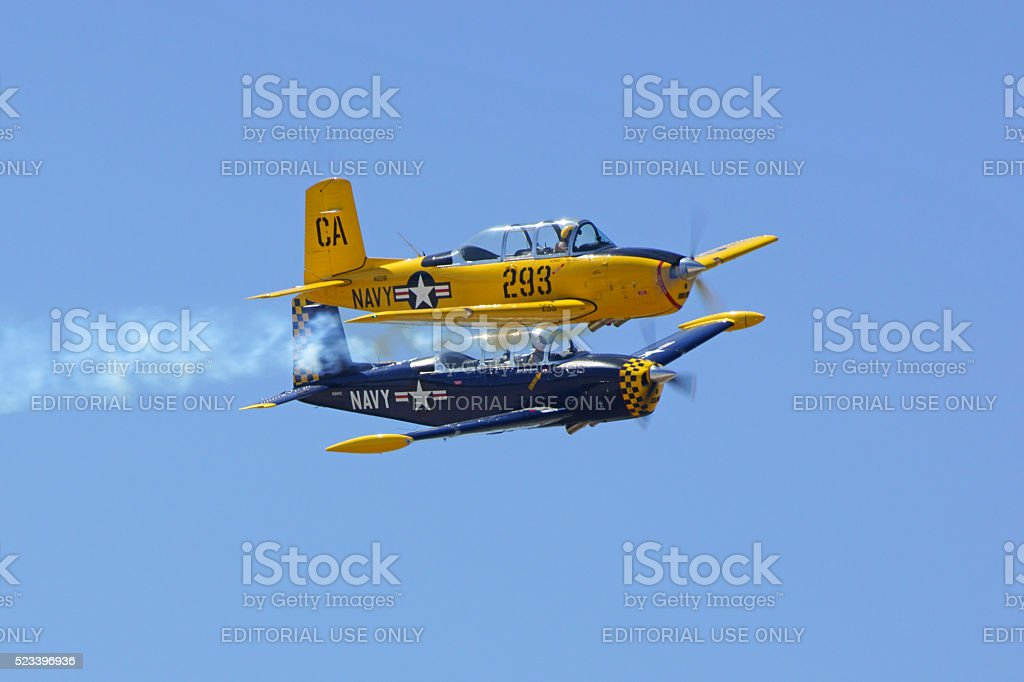 Airplane military trainer aircraft stock photo