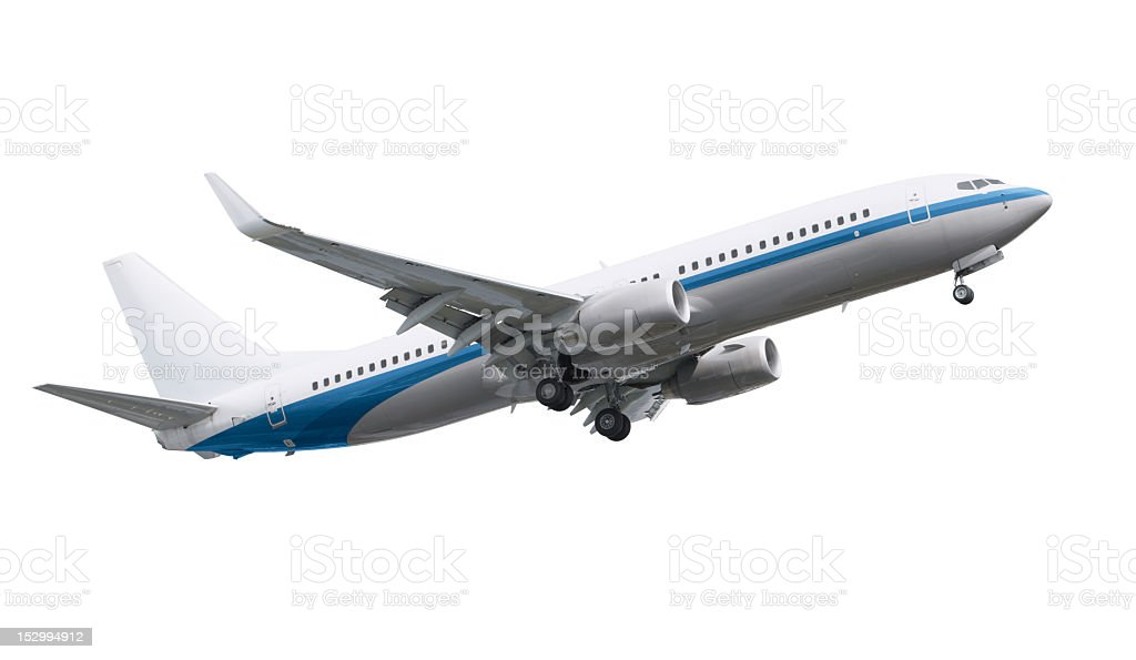 Airplane model against white background stock photo