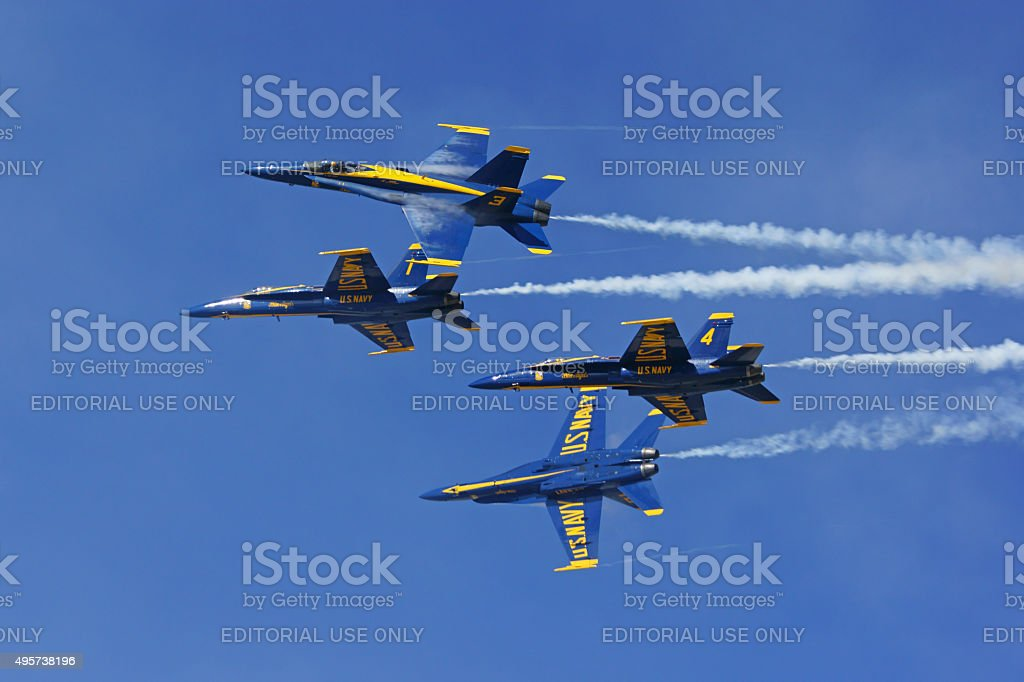 Airplane Navy Blue Angels jets stock photo