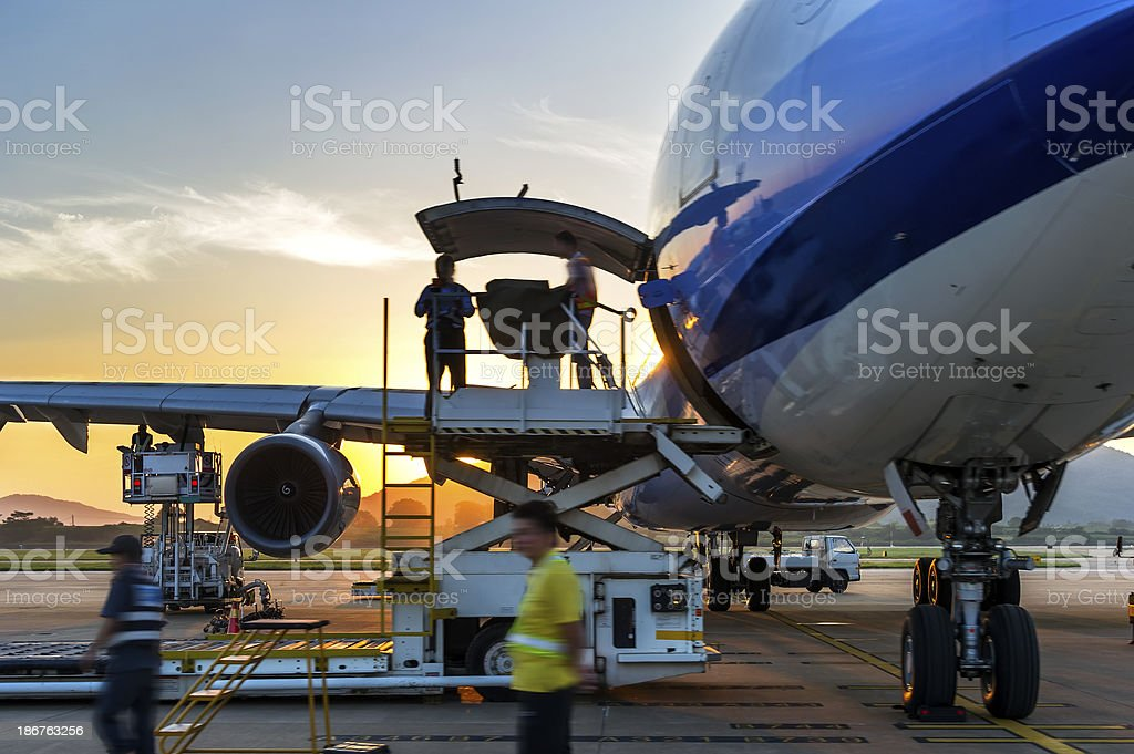 Airplane near terminal stock photo