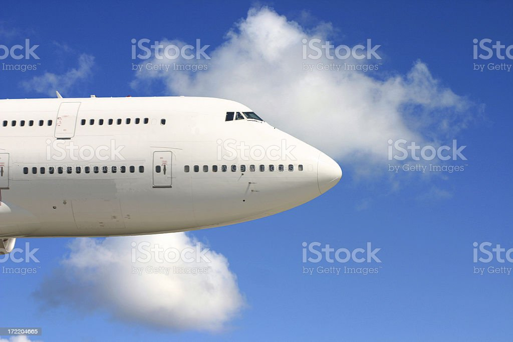 Airplane nose in the sky royalty-free stock photo