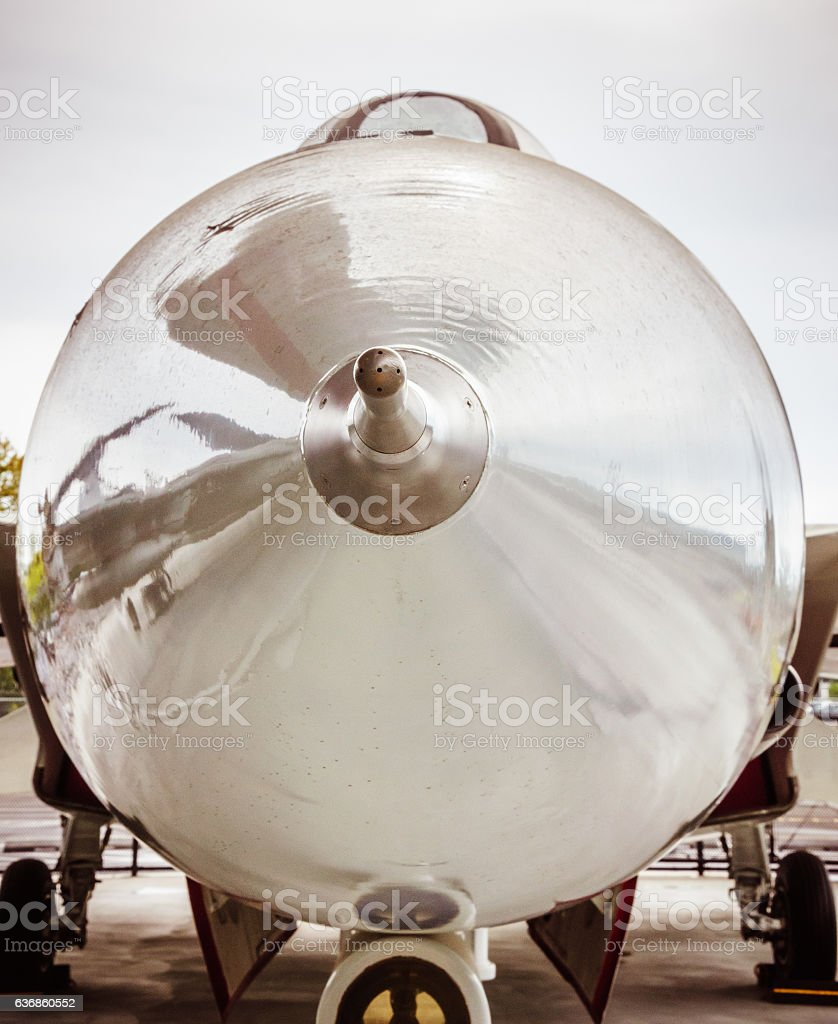 Airplane nose up close stock photo